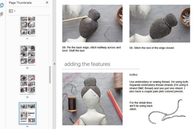 elegant rag doll sewing pattern sample page