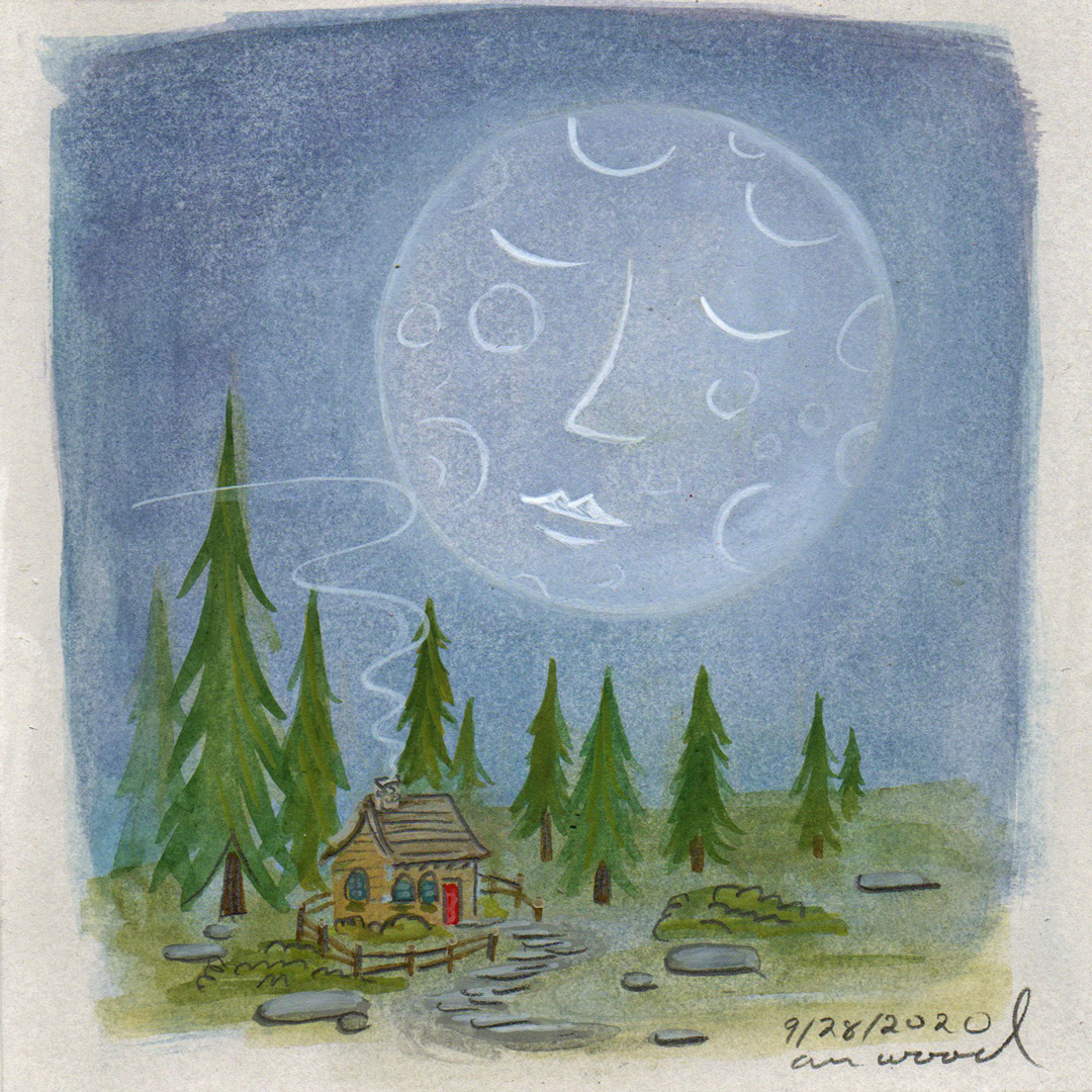 small painting : moon