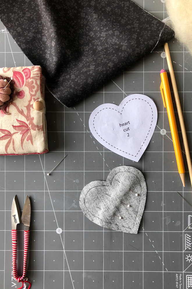 fabric heart with seam line drawn on