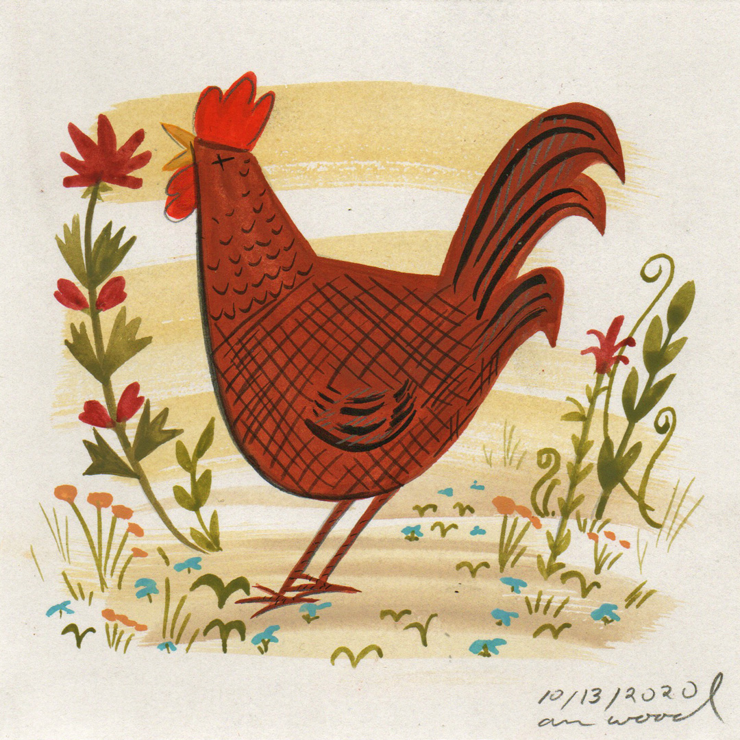 small painting : rooster