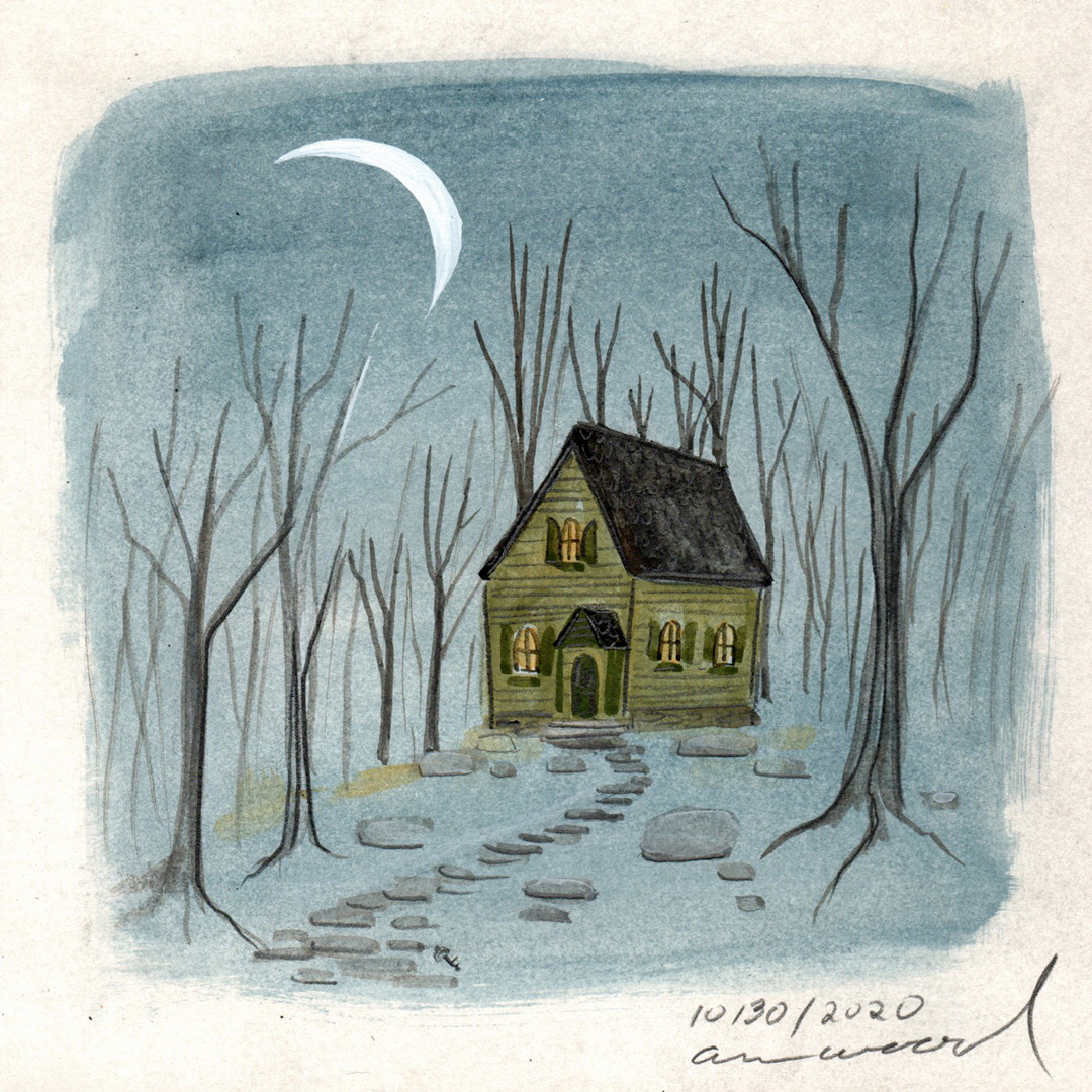 small painting : house at night