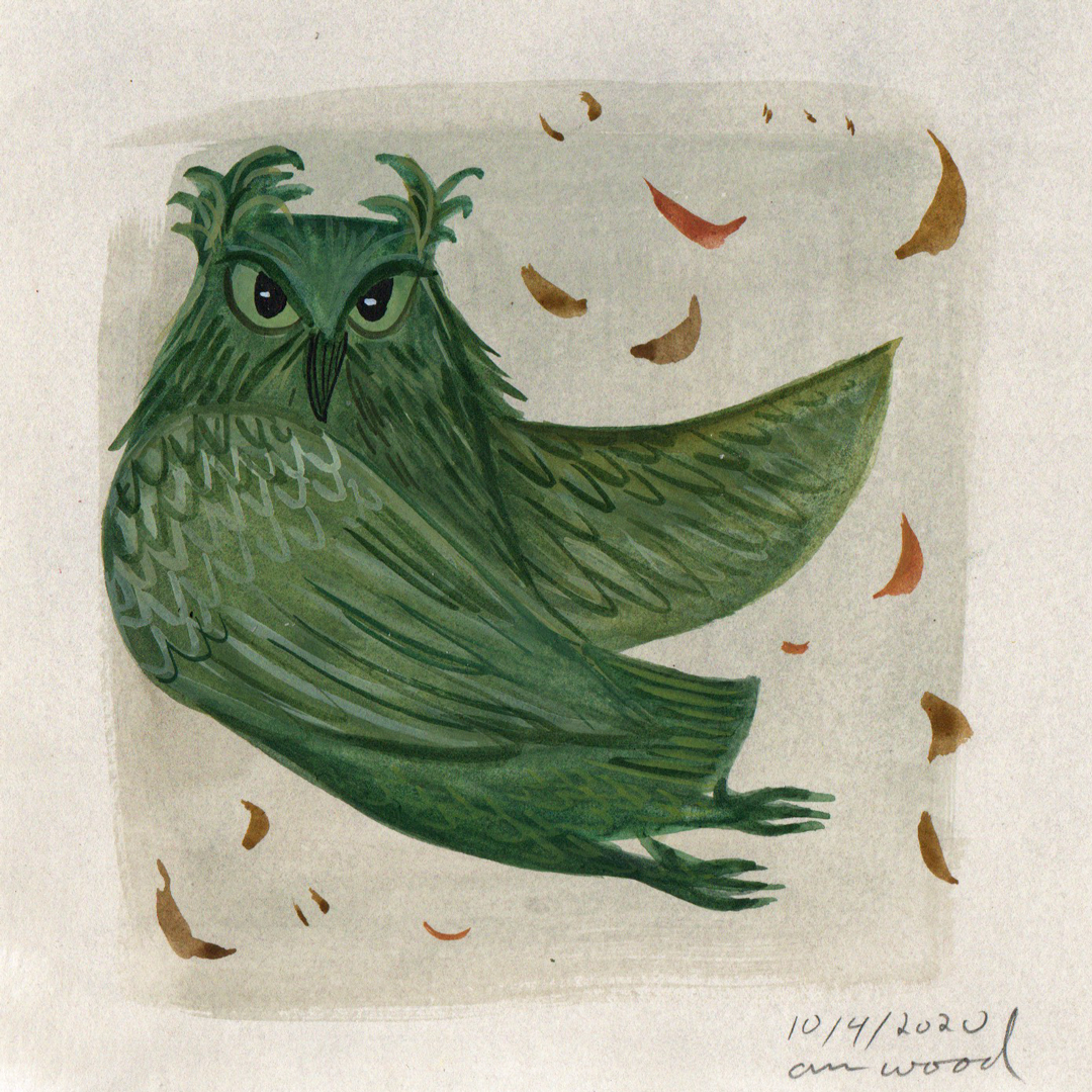 small painting : green owl