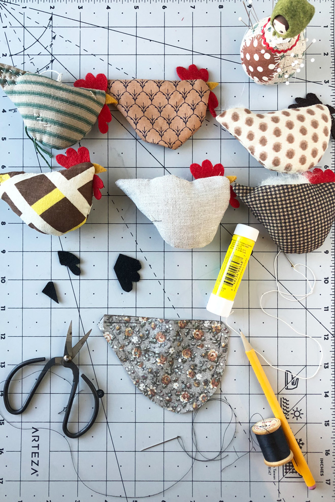 cut out fabric chicken parts