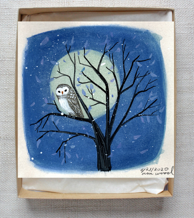 small painting : owl and moon