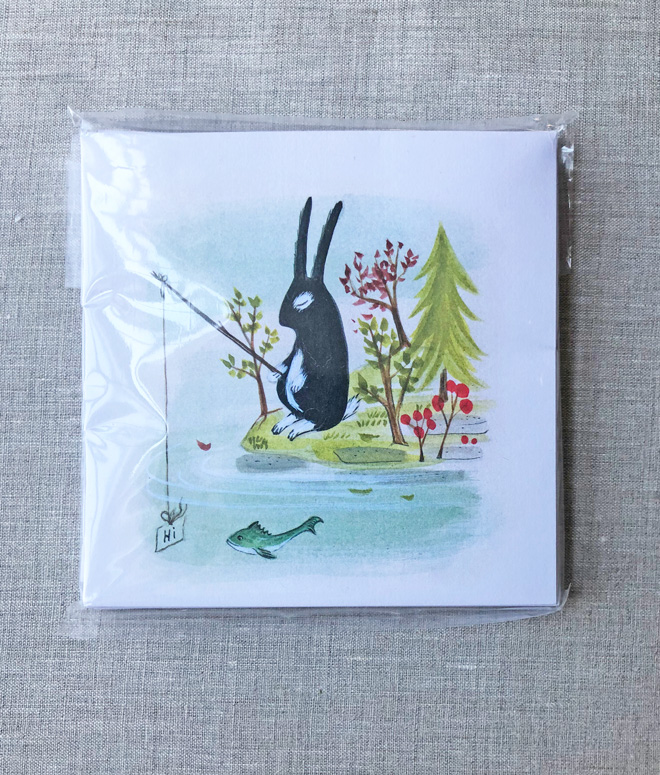 fishing bunny notecards