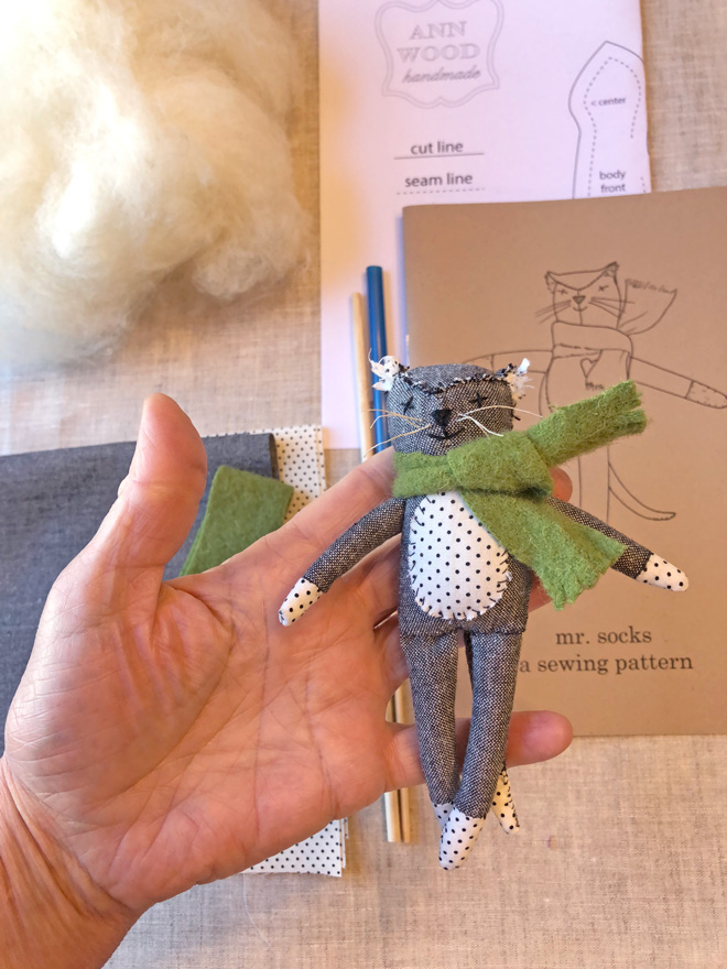 sewing kit for a tiny cat rag doll