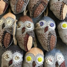 owl ornaments made from scraps
