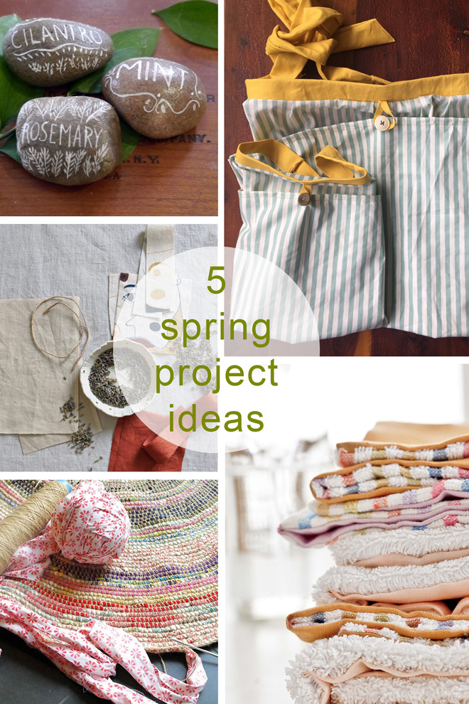 projects - apron, sachets, cleaning cloths herb marker rocks