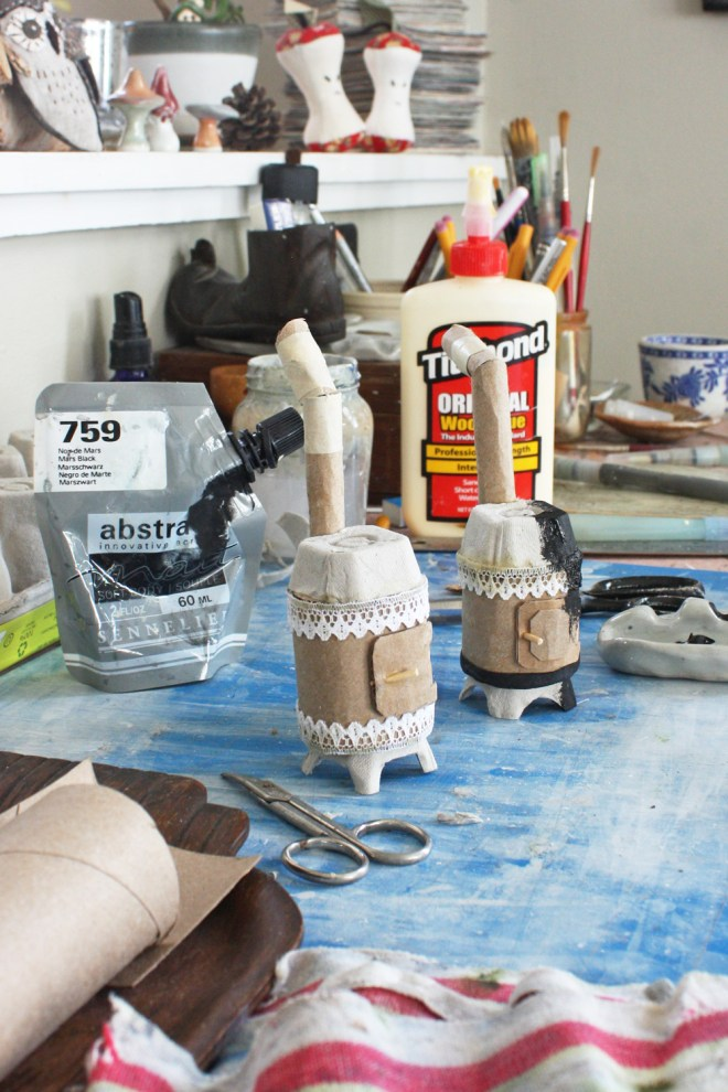 painting the miniature stove