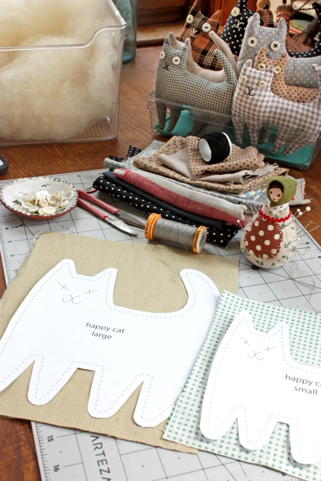 patterns and supplies for sewing happy cats