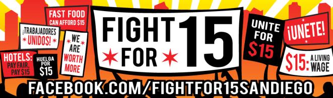 Fight For $15 San Diego Bumper Sticker