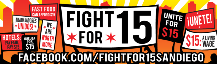 Fight For $15 San Diego Bumper Sticker