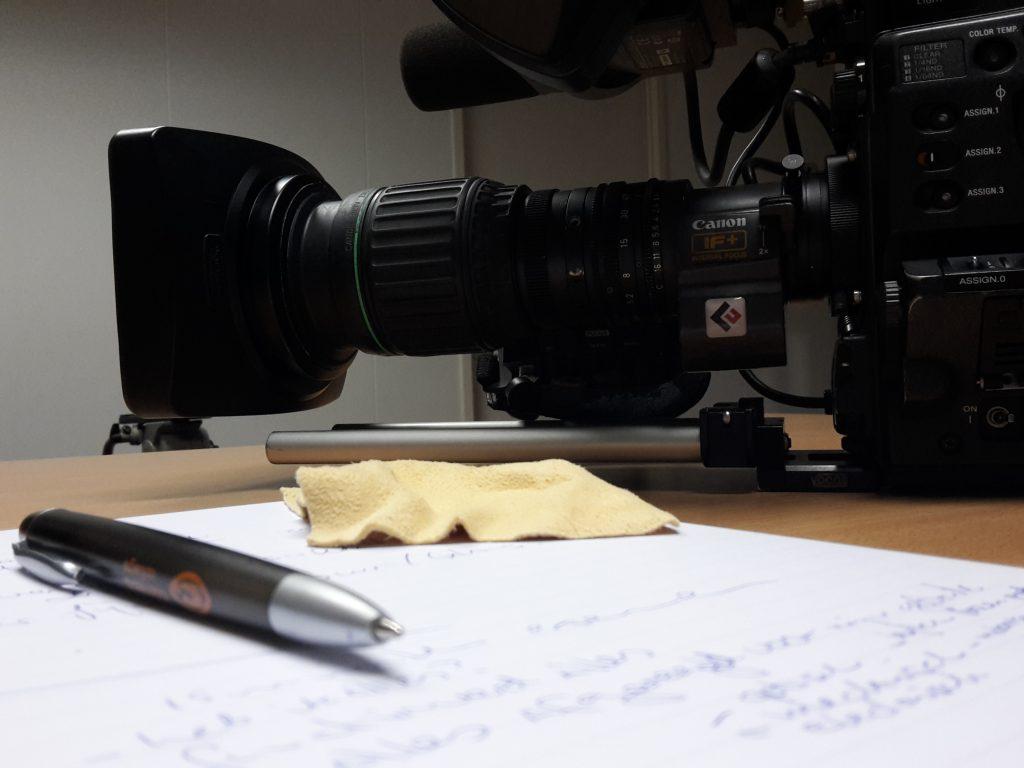Broadcast camera preppen.