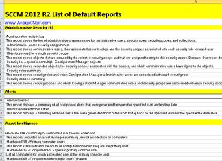 SCCM 2012 R2 Default Reports