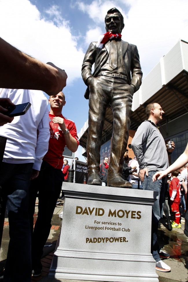 PA 19669538 Liverpool Balls: Statue To Manchester Uniteds Messiah Moyes Erected Outside Anfield