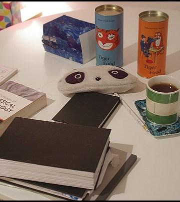 sketchbook on table