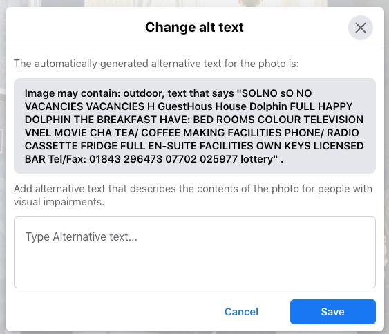 screenshot of facebook alt text generator