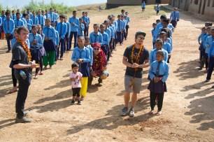 Morning assembly at Sharada School