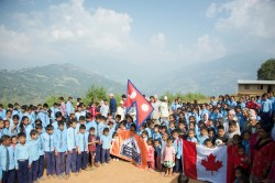 Sharada and ABIN with national flags and ABIN flag
