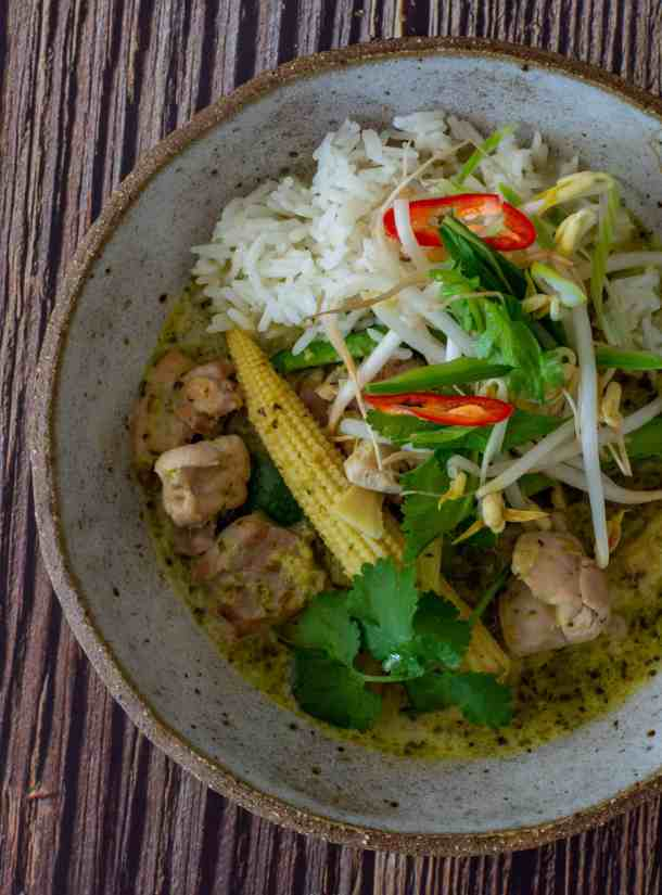thai curry on a bowl with chicken and veg