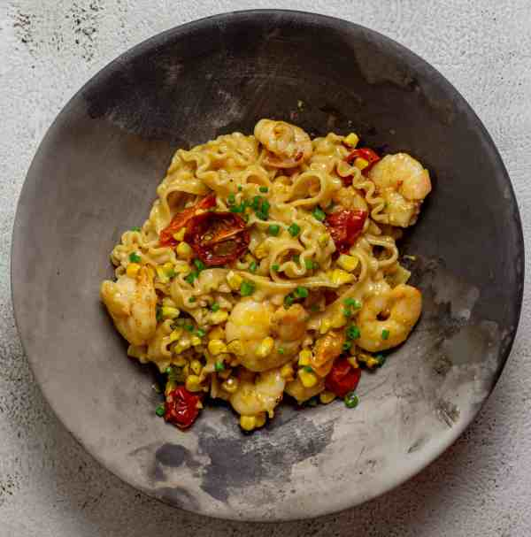 bowl of brown butter prawn pasta