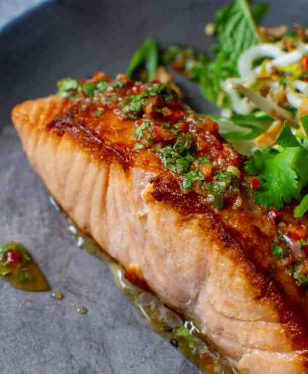 perfectly seared salmon with nam prik dressing