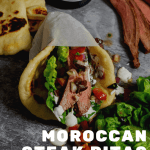 Moroccan steak pita with salsa, steak & red wine in background