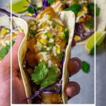 someone holding a crispy fish taco
