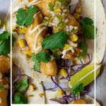 birdseye view of crispy fish tacos on a tray