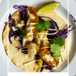 grilled fsh taco on a white plate