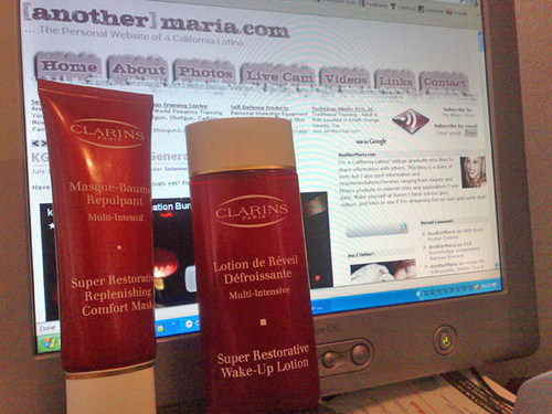 Clarins Super Restorative Replenishing Comfort Mask and Wake-Up Lotion