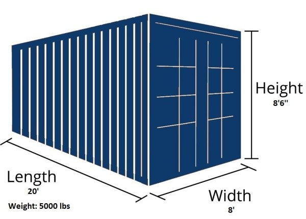20 foot used container external dimensions