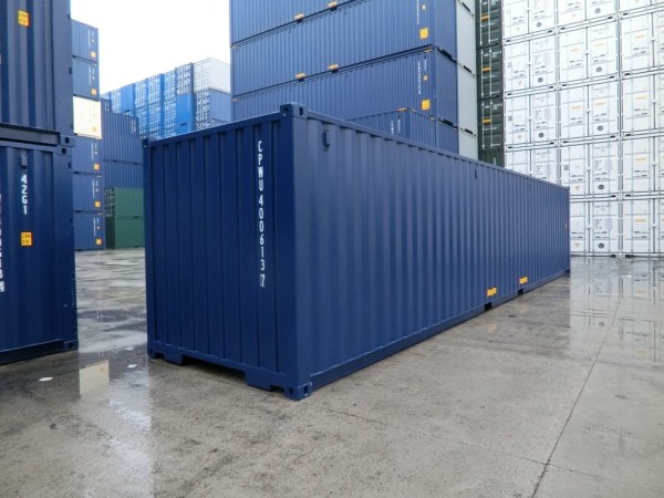 new 40' dark blue shipping container