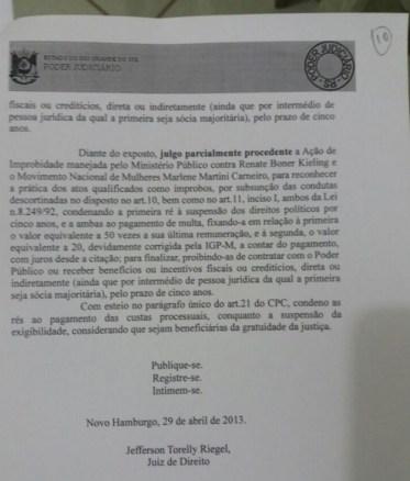 Documento confirmando a condenacao dela no Rio Grande do Sul