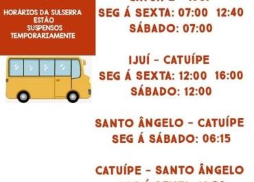 Sulserra suspende linhas de ônibus de Catuípe