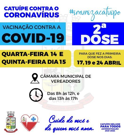 APLICAÇÃO DA 2ª DOSE DA VACINA CONTRA A COVID-19 ACONTECE NESTA QUARTA E QUINTA-FEIRA