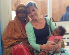 Martina Anderson with refugees