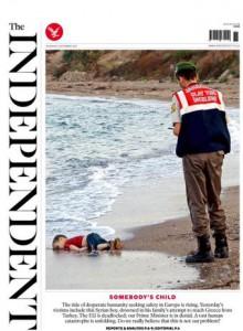 Independent Syrian child on beach 2015