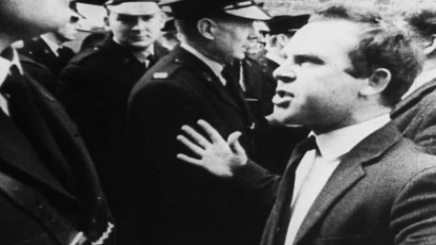 Divis Street 1964 remonstrating with RUC