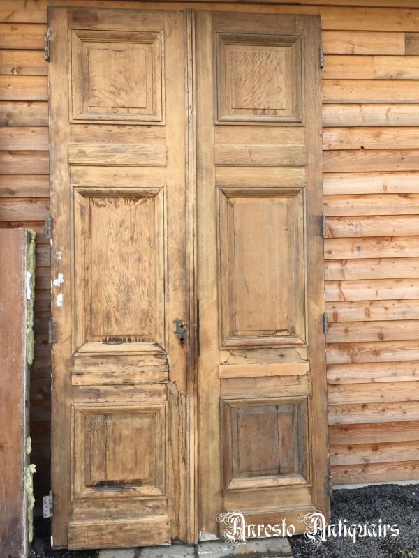 Ref. 84 – Antieke eikenhouten gepaneelde dubbele buitendeur, eikenhouten inkomdeur