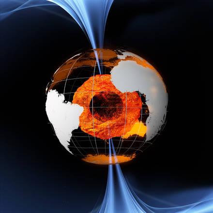 (in home page) Rappresentazione artistica della missione europea Swarm, destinata a studiare il csmpo magnetico terrestrre (fonte ESA/AOES Medialab)