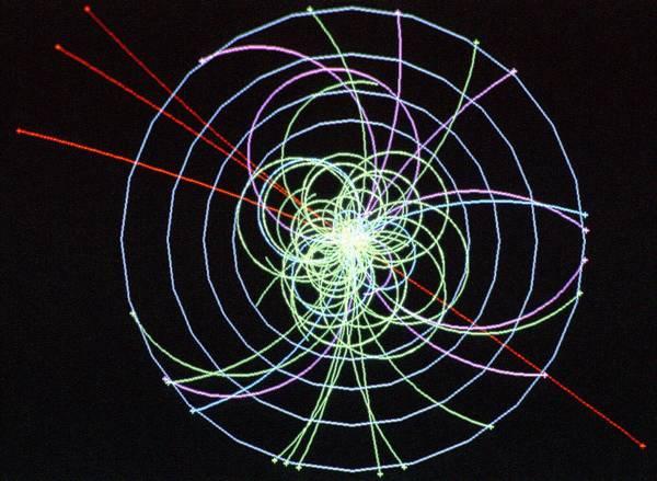 Simulazione di un probabile evento spia dell'esistenza del bosone di Higgs condotta con l'acceleratore Lhc (fonte: CERN)
