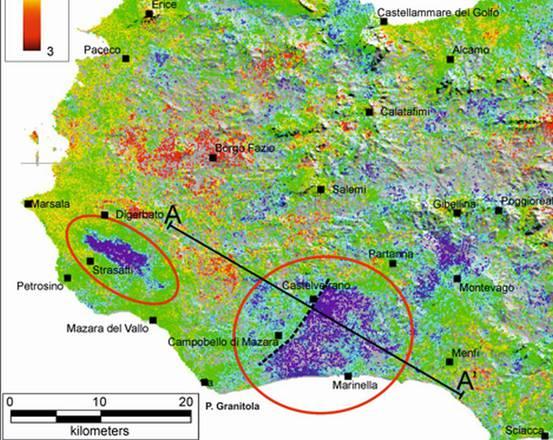 Mappa delle deformazioni ottenuta sulla base delle immagini rilevate dai satelliti radar (fonte: INGV e università di Ctania, Palermo e Napoli)