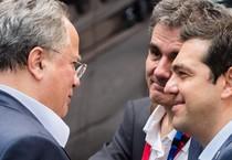 Alexis Tsipras, Euclid Tsakalotos e il ministro degli esteri greco Greek Nikos Kotzias (ANSA)