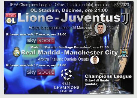 Champions League, Lione-Juventus e Real M.-Man City © ANSA