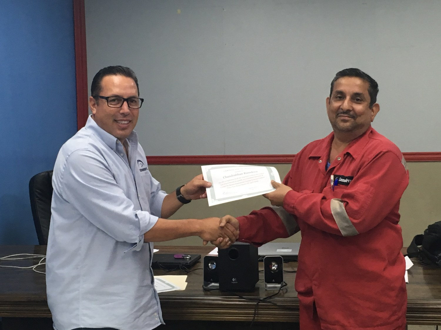 Receiving certificate for BARBEE Training