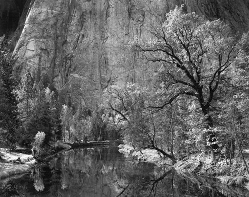 "Ansel Adams, ""Merced River, Cliffs, Autumn"""