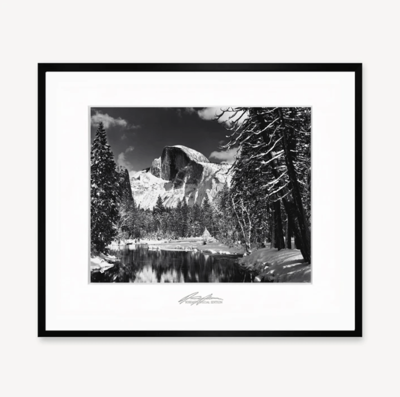 """Professionally framed image of """"Half Dome, Merced River, Winter"""" Purchase Artwork"""