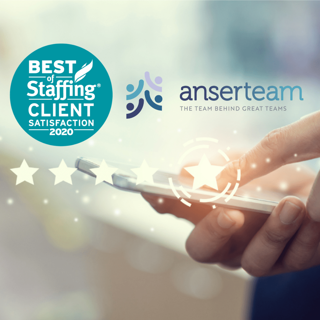 ANSERTEAM WORKFORCE ALLIANCE WINS CLEARLYRATED'S  2020 BEST OF STAFFING CLIENT AWARD FOR SERVICE EXCELLENCE
