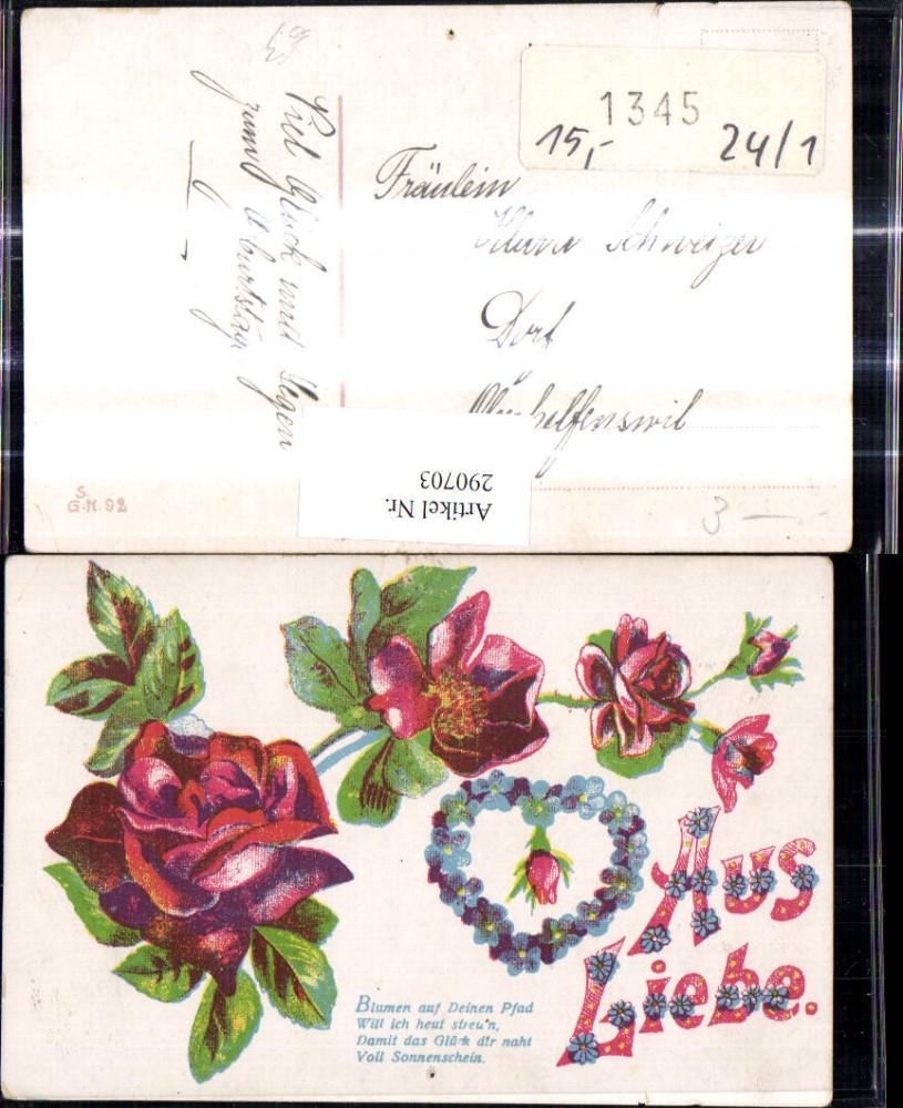 Aus Liebe Blumen Auf Deinen Pfad Rosen Herz